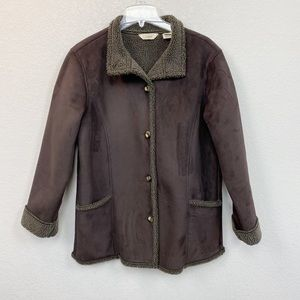 LL Bean Brown Faux Suede Sherpa Lined Jacket Coat